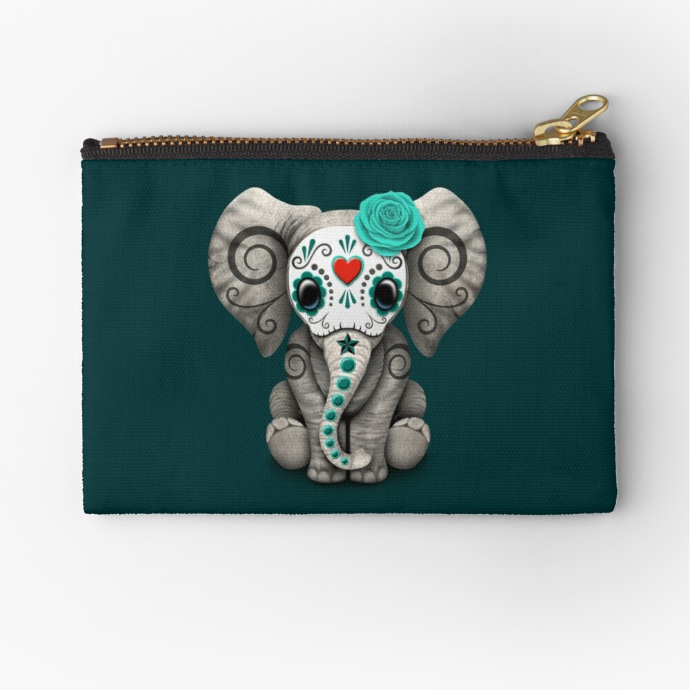 Teal Blue Day of the Dead Sugar Skull Baby Elephant Zipper Pouch