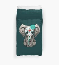 Teal Blue Day of the Dead Sugar Skull Baby Elephant Duvet Cover
