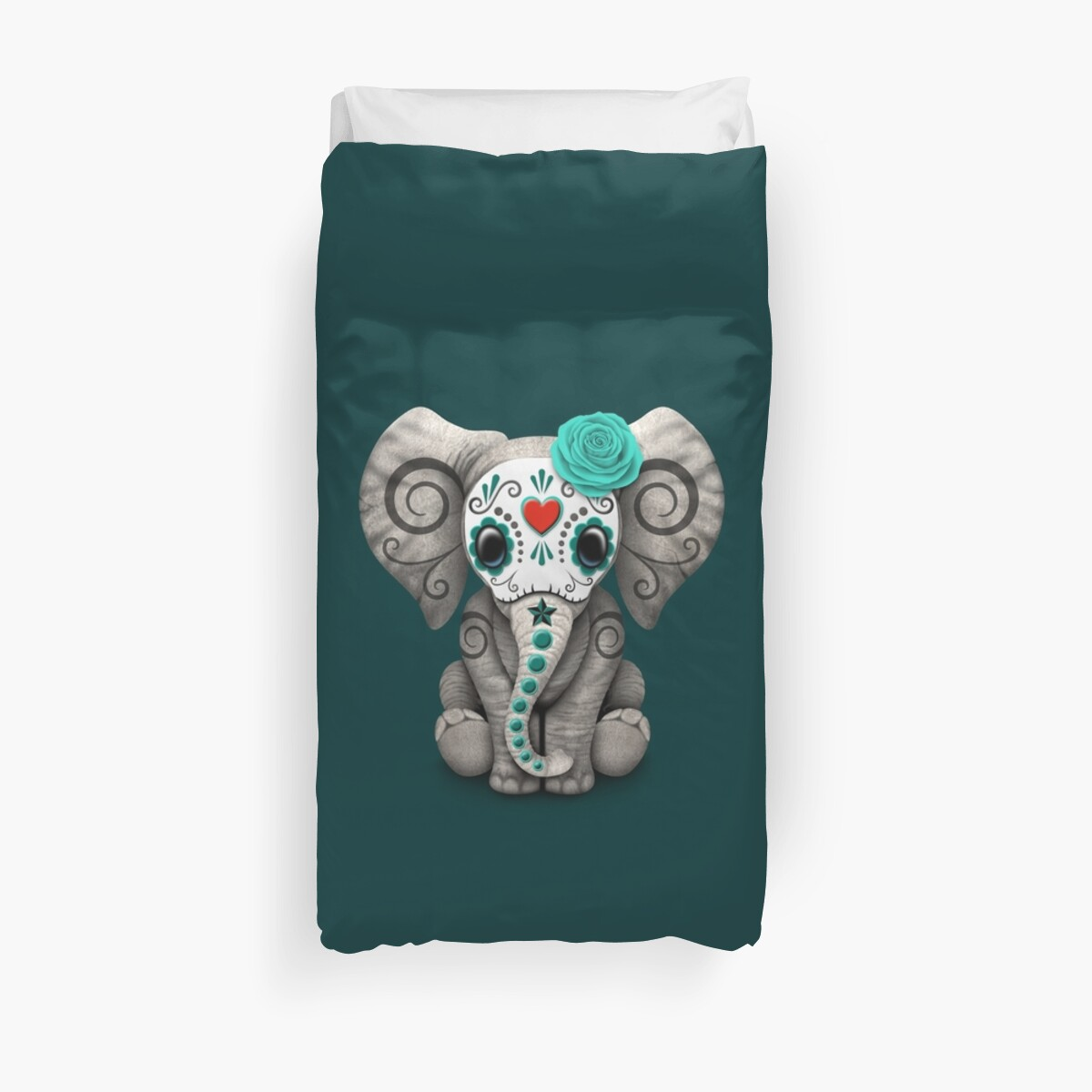 Teal Blue Day of the Dead Sugar Skull Baby Elephant by jeff bartels