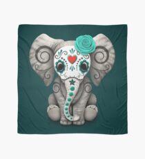 Aquamariner blauer Tag des toten Zuckerschädel-Baby-Elefanten Tuch