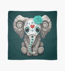 Pañuelo Teal Blue Day of the Dead Sugar Skull Baby Elephant