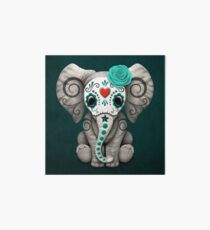 Teal Blue Day of the Dead Sugar Skull Baby Elephant Art Board