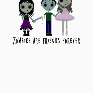 Zombies are friends forever by kookyspookyart