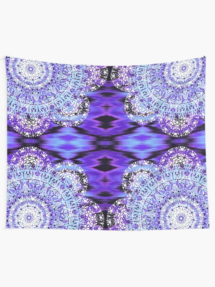 Alternate view of Violet Ikat Mandala Wall Tapestry