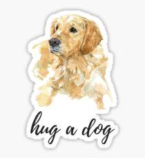 hug a dog, watercolor golden retriever Sticker