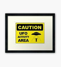 Warning, Ufo Activity Area, sticker Framed Print