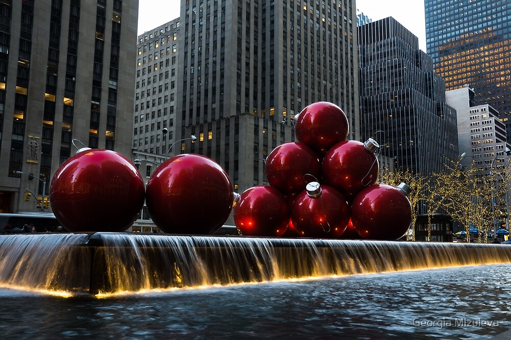 A Christmas Card from New York City - a 5th Avenue Fountain with Giant Red Balls by Georgia Mizuleva