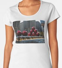 A Christmas Card from New York City - a 5th Avenue Fountain with Giant Red Balls Women's Premium T-Shirt