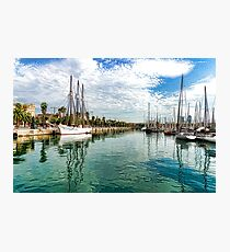 Yachts and Palm Trees - Impressions of Barcelona  Photographic Print
