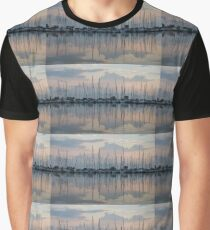 Pastel Sailboats Reflections at Dusk Graphic T-Shirt