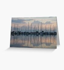 Pastel Sailboats Reflections at Dusk Greeting Card