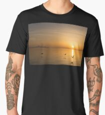 Wings at Sunrise - Toronto Skyline With Flying Geese Men's Premium T-Shirt