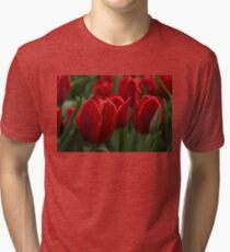 Vibrant Red Spring Tulips Tri-blend T-Shirt