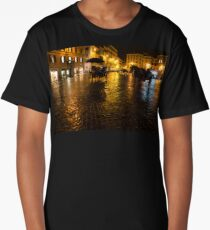 Golden Glow - Night on the Spanish Steps Piazza in Rome, Italy Long T-Shirt