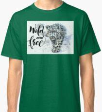 Snow leopard, jaguar, predator, animals, watercolor Classic T-Shirt
