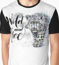 Snow leopard, jaguar, predator, animals, watercolor Graphic T-Shirt
