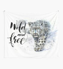 Snow leopard, jaguar, predator, animals, watercolor Wall Tapestry