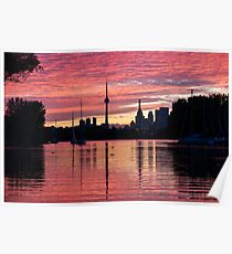 Fiery Sunset - Downtown Toronto Skyline with Sailboats Poster