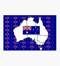 Australia Map and flag Photographic Print