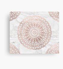 Marble mandala - beaded rose gold on white Canvas Print