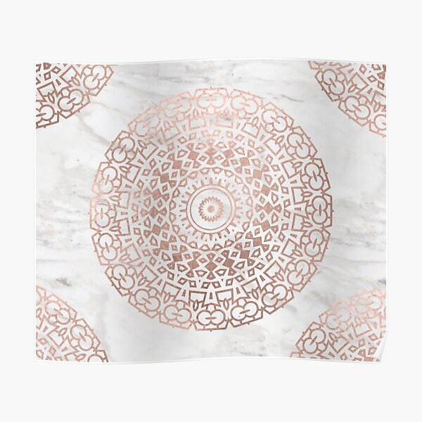 Marble mandala - beaded rose gold on white Poster