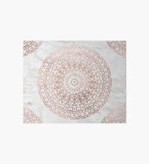 Marble mandala - beaded rose gold on white Art Board