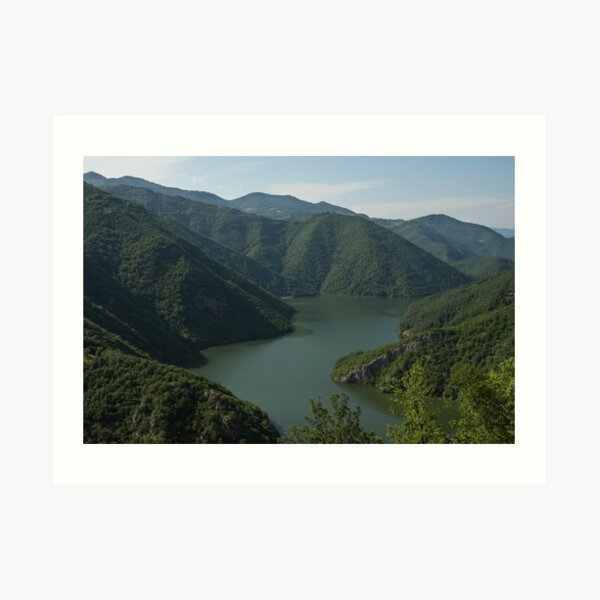 Verdant Mountains Spilling in the Green Water Art Print
