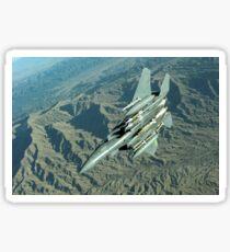 A U.S. Air Force  F-15E Strike Eagle on a combat patrol over Afghanistan.  Sticker