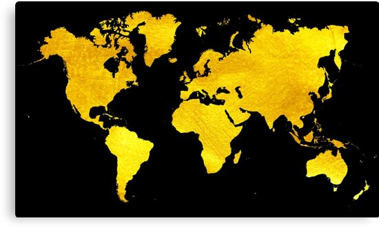 Black And Gold Map Of The World World Map For Your Walls Canvas - Black and gold world map