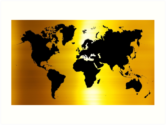 Gold And Black Map Of The World World Map For Your Walls Art