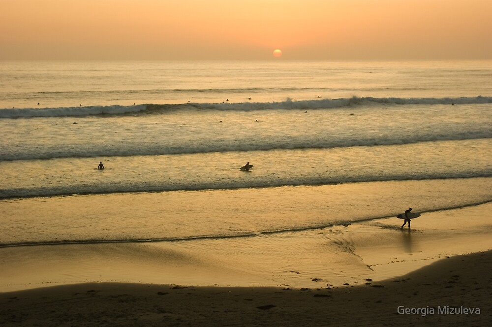 Californian Gold - Sunset, Beach, Waves and Surfers - Oh So California by Georgia Mizuleva