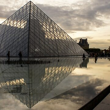 Paris - Louvre Pyramid Reflecting in the Fountain Pool by GeorgiaM