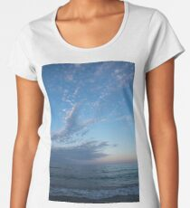 Pale Blues and Feathery Clouds in the Fading Light Women's Premium T-Shirt