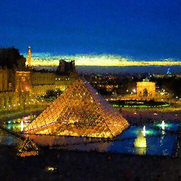 Impressions of Paris - Louvre Pyramid Blue Hour by GeorgiaM