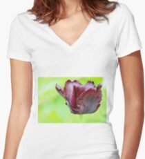 Gorgeous dark macro tulip over green background Women's Fitted V-Neck T-Shirt
