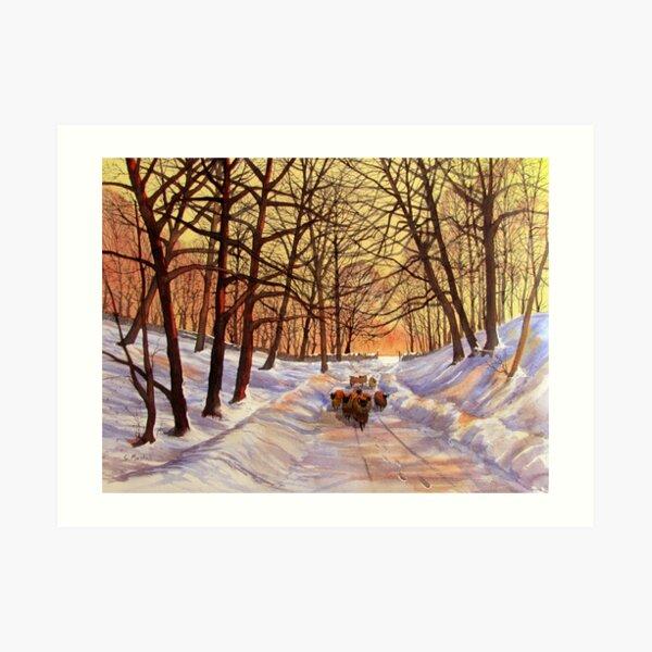 Evening Glow on a Winter Lane Art Print