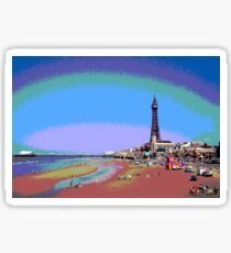 Blackpool Tower and Beach Posterized Sticker