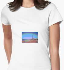 Blackpool Tower and Beach Posterized Women's Fitted T-Shirt