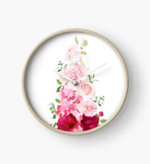 Delicate wedding ombre bouquets of rose, peony, camellia Clock