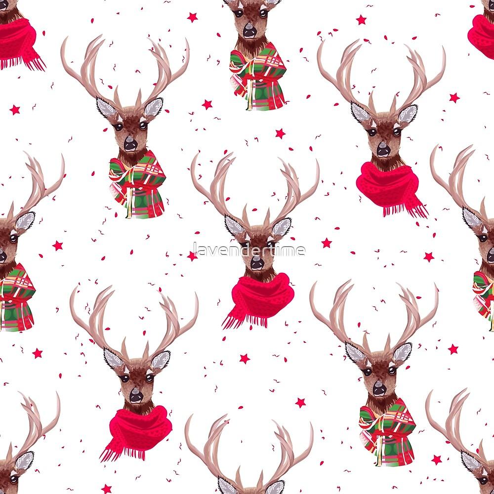Graceful deer wearing stylish winter scarves by lavendertime