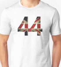 Lewis Hamilton 44 with worn looking Union Jack Unisex T-Shirt