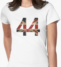 Lewis Hamilton 44 with worn looking Union Jack Women's Fitted T-Shirt