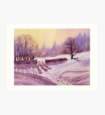 Sheep and Snow Art Print