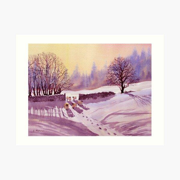 Sheep and Snow Art Print