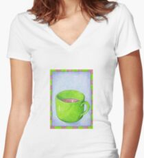 Tea in Green Women's Fitted V-Neck T-Shirt
