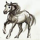 Magnificent Mare - ink wash painting by Rebecca Rees