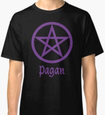Pagan Pentagram Pentacle Purple Star Wicca Classic T-Shirt