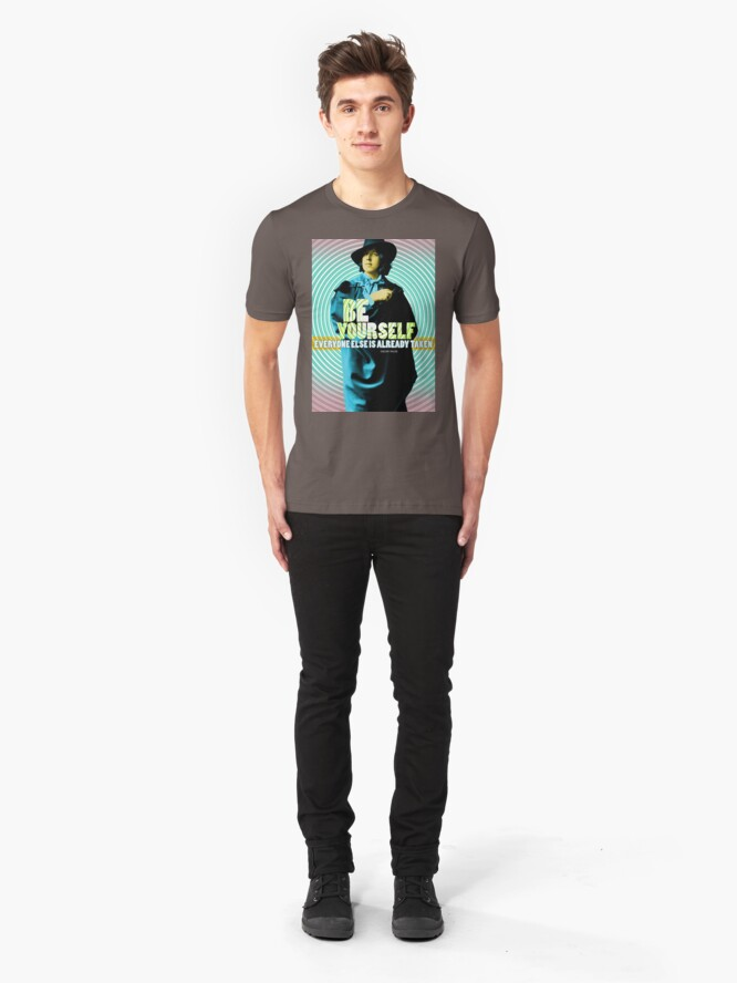Alternate view of Oscar Wilde Quote Slim Fit T-Shirt