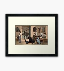 People Working in a Tailor Shop Framed Print