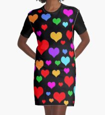 Multicolor Rainbow Hearts Graphic T-Shirt Dress